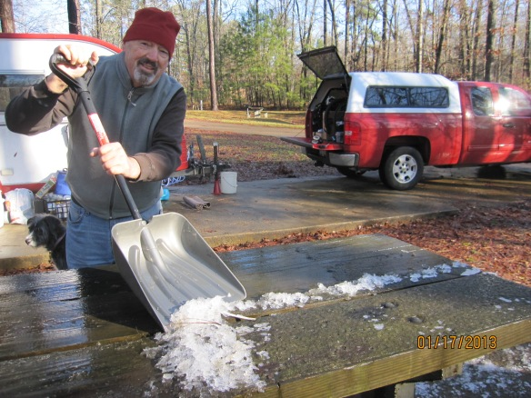chopping ice off the picnic table in Natchez