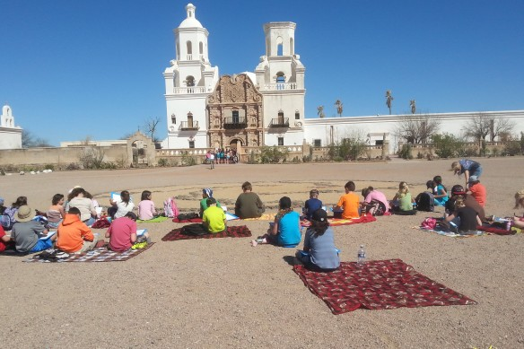 In honor of the new Pope, we bicycled to the San Xavier Mission in Tucson.  A group of schoolkids was sitting outside with sketchbooks.  There may have been a Gaudi, Pei, or Gehry among them, as well as a Picasso or Dali as well.  (actually, the ride had nothing to do with the new Pope)