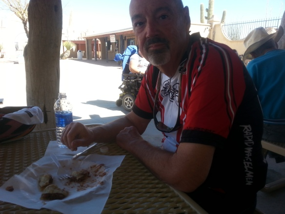 John decided to have Indian fry bread with frijoles as a snack at the Mission.  (Not the best bike snack as we learned....)