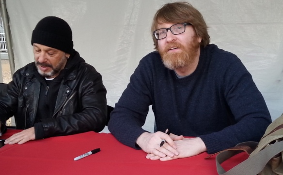 Chuck Klosterman and Mike Sager in my booksigning tent