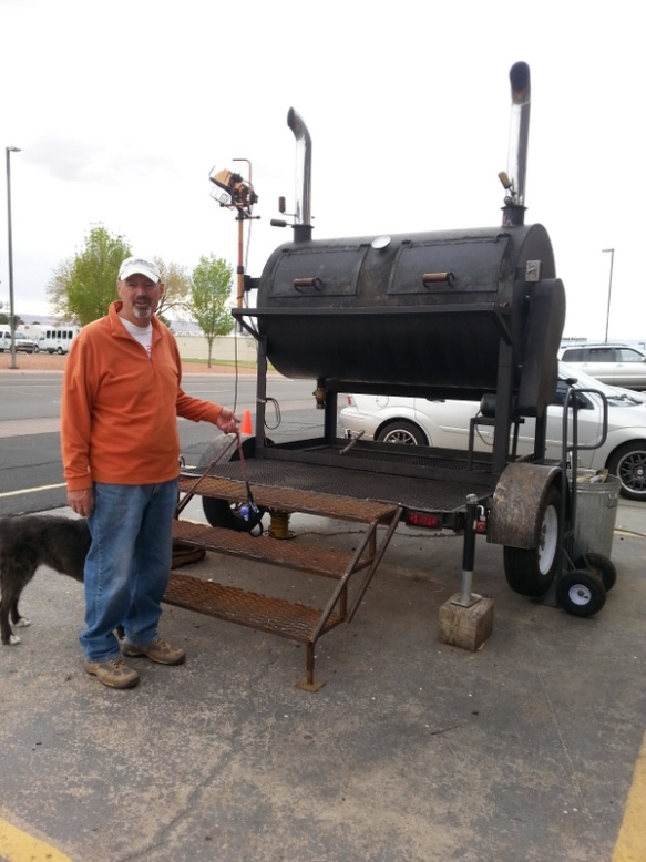 "John's first thoughts when we passed this huge smoker?  ""I want one!"""