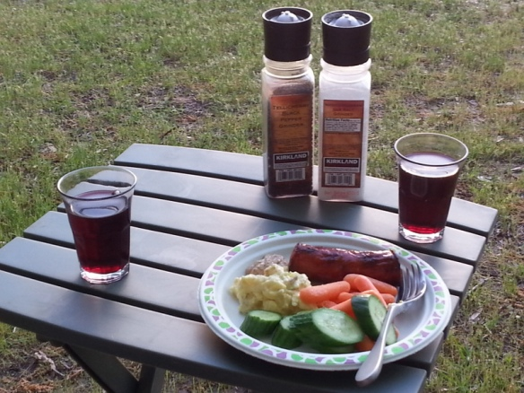 A simple dinner, consumed outdoors.