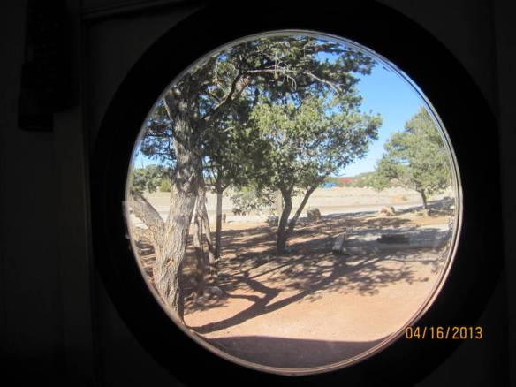 Thru the port hole at Cottonwoods Campground in Canyon de Chelly.  Turquoise Trail was not a view I want to remember, so....no photo.