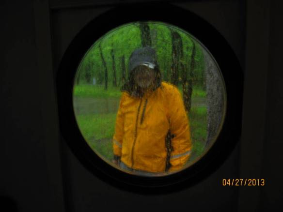 Scary view thru the porthole at Meeman Shelby Forest SP.