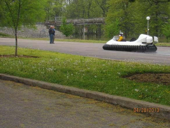 Never seen a hovercraft before.  This guy looked like he was having fun.