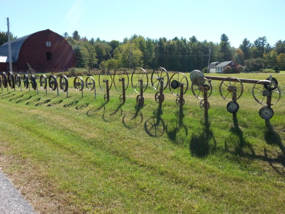 an unusual fence alongside the road near Ticonderoga