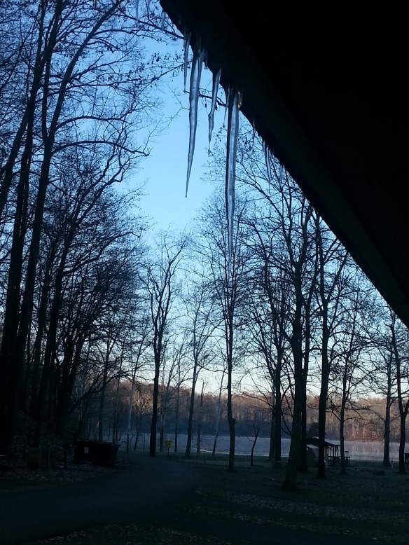 Icicles on the outhouse