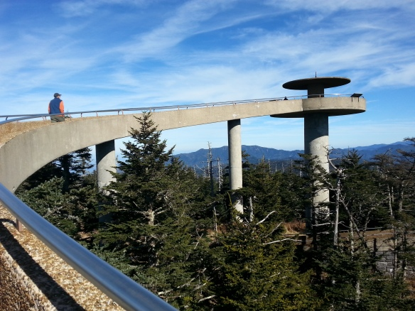 the lookout at Clingman's Dome soars over the treetops