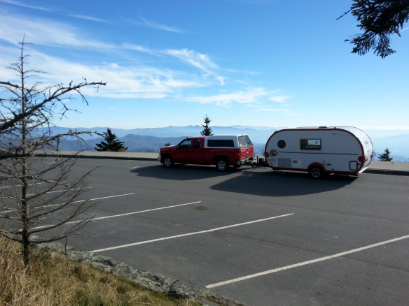 The deserted parking lot at Clingman's Dome