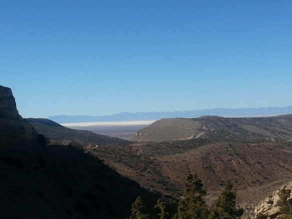The white in the distance is White Sands National Monument.