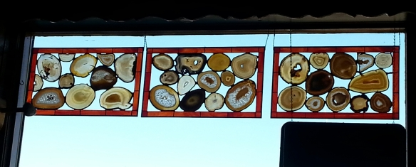 Agates found in the area have been fashioned into 'stained glass' type of panels.  They were fantastic!